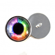 Rainbow Eyes With Sew In Loops 16mm Glass Eye Cabochons for Fantasy Art Doll Stuffed Animal Soft Sculptures or Jewellery Making Crafts Set of 2