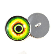Glass Monster Looped Back Eyes 16mm Eye Cabochons in Green for Fantasy Art Doll Stuffed Animal Soft Sculptures or Jewellery Making Crafts Set of 2