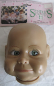 SYNDEE'S Craft DOLL HEAD Vinyl 'GABBY' Head LARGE Size w GREENISH grey Eyes, CLOSED MOUTH & Dimples