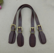 GH8 A Pair Adjustable Artificial Leather 50cm L Embossed Bronze Style Hardware Brown Purse Strap Handles/Bag Handles DIY