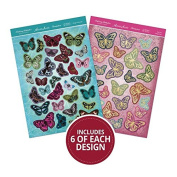Hunkydory Flight of the Butterflies Jewelled Edition Fluttering Butterflies 12-Sheets 110gsm