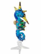 TINY CRYSTAL SEA HORSE HAND BLOWN CLEAR GLASS ART SEA HORSE FIGURINE ANIMALS GLASS BLOWN FBM