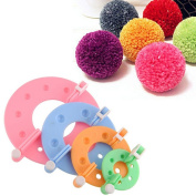 B & Y 4Size/Set Pompom Maker Fluff Ball Bobble Weaver Needle Craft Knitting Wool Tool Kit DIY