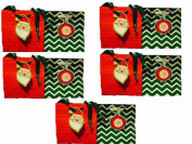 Garven Holiday Chevron & Snowflake Gift Bag Petite 2 Bag Set