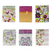 Gift Bags Party Bright Celebration Flower Women Girls Glossy Greetings Bag - 6 Assorted Styles