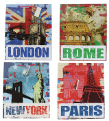 Gift Bags Paris London New York Rome PartyCelebration Glossy Greetings Bag - 4 Assorted
