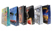 Gift Bags Large Party Cars Retro Guitar Motorcycle Celebration Glossy Greetings Bag - 6 Assorted Styles