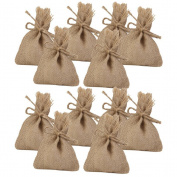 FENICAL 14*10CM Small Burlap Bags 10pcs Hessian Drawstring Bags for Wedding Party Favour Gifts