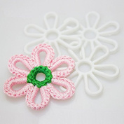 5.1cm DIY Flower Plastic Canvas Shapes,great for needlepoint projects, ornaments, coasters ,mats ,auto cusions and crafts,10-Pack,Clear
