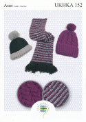 Aran Knitting Pattern for Ladies Ribbed or Cabled Pom Pom Hat & Tweed Scarf