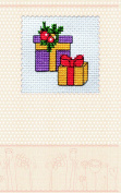 """Postcard cross stitch kit """"Christmas gifts"""" for kids and beginners"""