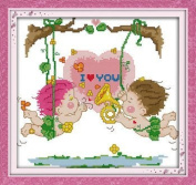"""Joy Sunday Cross Stitch kits, Love on a swing,11CT Counted, 38cm×36 or 14.82""""×14.04"""""""