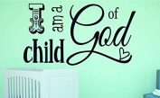 "Design with Vinyl RAD 1105 5.1cm I Am A Child Of God Kids Baby Boy Girl Bedroom Bible Quote"" Vinyl Wall Decal, 41cm x 60cm , Black"