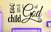 "Design with Vinyl RAD 1108 5.1cm I Am A Child Of God Kids Baby Boy Girl Bedroom Bible Quote"" Vinyl Wall Decal, 41cm x 60cm , Black"