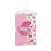 Mini Muffin Baby-Girls 3 Piece Velboa & Patchwork Baby Blanket 30 x 30 With Buddy Toy And Keepsake Hanger, Pink Bird