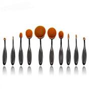 Gydoxy(TM)10pcs/set Makeup Powder Brush, Beauty Oval Cream Puff Cosmetic Toothbrush-shaped Foundation Brush