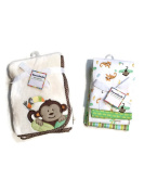 Garanimals Monkey/Toucan Baby Blanket Set - One Soft Baby Blanket & Four Flannel Receiving Blankets