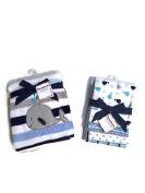 Garanimals Whale Baby Blanket Set - One Soft Baby Blanket & Four Flannel Receiving Blankets