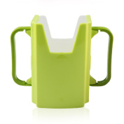 WEKA Plastic Self-Helper Drinking Milk Juice Mug Cup Holder For Toddler Kids Green
