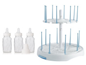 Evenflo Feeding Classic Twist Glass Bottles with High Capacity Drying Rack (Includes Bonus Baby Haven Reusable Steam Steriliser Bag), 120ml