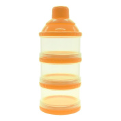 WEKA Infant Baby Dispenser Milk Powder Container Boxes Bottle 3 Layer Orange