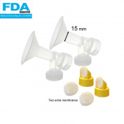 15 mm 2xOne-Piece Extra Small Breastshield w/ Valve and Membrane for Medela Breast Pumps; Replacement to Medela PersonalFit Breastshield and Personal Fit Connector; Made by Maymom