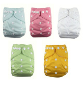 Lazzaa 5pcs Pack Pocket Washable Adjustable Cloth Nappy with 2 Inserts Each