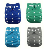 Lazzaa 4pcs Pack Pocket Washable Adjustable Cloth Nappy with 2 Inserts Each
