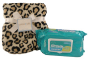 Posh Leopard Print Baby Blanket and Baby Wipes Bundle - Two items