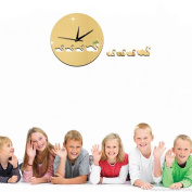 ZQ Modern European and American Mirror wall clock wall sticker Swan children creative decorative wall clock DIY wall sticker wall clock , gold