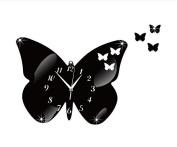 ZQ Modern European and American Stylish wall clock solid wall decorations Butterfly mirror wall clock sticker clock room decoration ideas wall clock , black