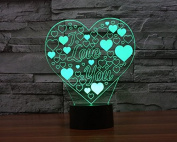 I Love You Heart Hologram LED Night Light Lamp - Colour Changing