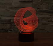 Bent Ring Hologram LED Night Light Lamp - Colour Changing