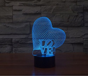 Slanted Love Heart Hologram LED Night Light Lamp - Colour Changing
