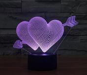 Heart Love Hologram LED Night Light Lamp - Colour Changing