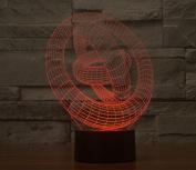 3 Three Rings Hologram LED Night Light Lamp - Colour Changing