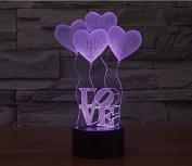 Love Heart Hologram LED Night Light Lamp - Colour Changing