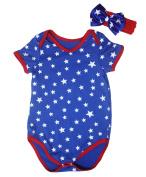 4th July Baby Dress Patriotic Star Blue Cotton Jumpsuit Bodysuit Romper Nb-18m