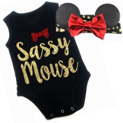 G & G - Cute Baby Girls Sassy Mouse Outfits W/ Mouse Ears Red Black