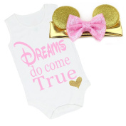 G & G - Cute Baby Girls Dreams Coming Home Outfit W/ Mouse Ears Pink Gold