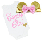 G & G - Cute Baby Girls Birthday Girl Outfit W/ Mouse Ears Pink Gold