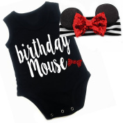 G & G - Cute Baby Girls Birthday Mouse Outfit W/ Mouse Ears Black Red