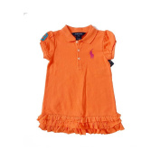 Polo Ralph Lauren Infant Girl's Big Pony Dress, 24 MOS, Orange