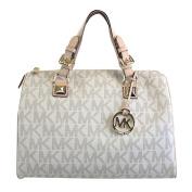Michael Kors MD Grayson Satchel Handbag Signature MK Vanilla PVC