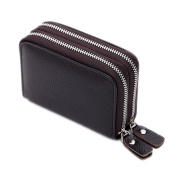 Men's Women's Cowhide Leather Wallet Credit ID Card Holder Coin Purse Zip Clutch