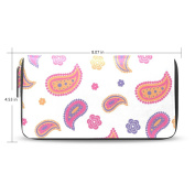 Womens Original Paisley Pattern Long Wallet Case with Card Holder