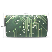 Womens Circuit Diagram Pattern Long Wallet Case with Card Holder