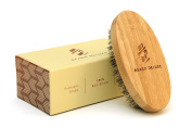 Beard Deluxe-Beard Brush for Men-Natural Bamboo Handle With 100% Boar Bristle-Perfect for Beards or Moustaches Combing and Grooming-Can Be Used With Wax,Oil or Balm-Includes Cotton Bag and Gift Box