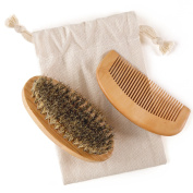 Beard Brush And Comb Set For Men - Made From 100% Genuine Boar Bristle And Wood - For Beards Moustaches And Hair - Perfect For Use With Balms Oils And Pomades -... Kit Includes A Complimentary Gift Bag