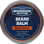 Beard Balm - Spiced Licorice Scent - Man-Sized 120ml Metal Tin - Twice The Size - Expert Crafted With 100% Natural Ingredients - Softens and Conditions Your Beard - Best Leave-In Beard Conditioner
